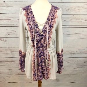 Free People Paisley Peasant Puff Sleeve Tunic Top